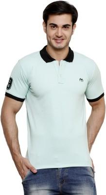 ominous Solid Men,s Polo Neck Light Blue T-Shirt