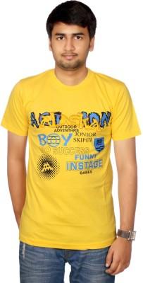 AADUKI Printed Men's Round Neck Yellow T-Shirt