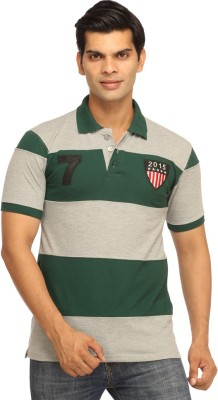 Rockhard Striped Men's Polo Neck Dark Green T-Shirt