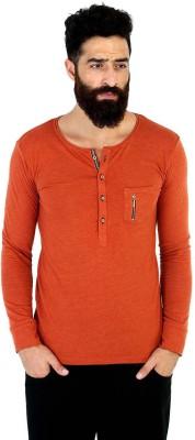 Mr Button Solid Men's Henley Orange T-Shirt