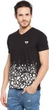 Garcon Printed Men's V-neck Black T-Shir...