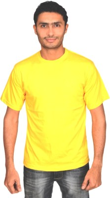 Clo Clu Solid Men's Round Neck Yellow T-Shirt