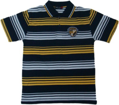 Miracle Striped Men's Polo Neck Yellow T-Shirt