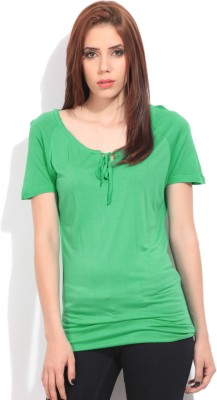 Cherokee Solid Women's Fashion Neck T-Shirt