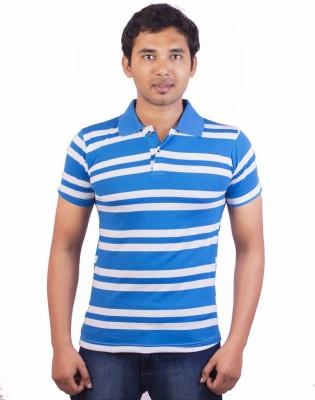 Indrow Self Design, Striped Men's Polo Neck T-Shirt