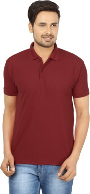 Forever19 Solid Men's Polo Neck Red T-Shirt