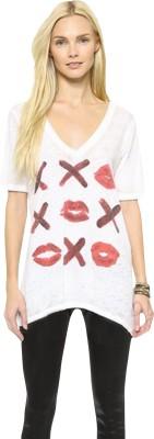Fromycloset Printed Women's V-neck White T-Shirt