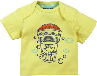 Mom & Me Printed Baby Boy's Round Neck Yellow T-Shirt