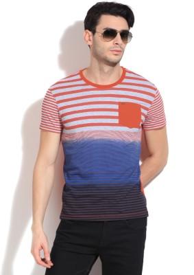 Lee Striped Men's Round Neck Grey, Blue, Orange T-Shirt