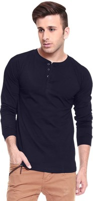 Softwear Solid Men's Henley Dark Blue T-Shirt