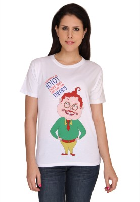 Idiot Theory Graphic Print Women,s Round Neck White T-Shirt