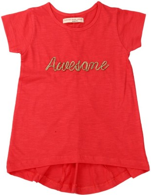 Raine And Jaine T- shirt For Girls(Red)