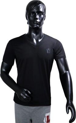 Starsy Solid Men's V-neck Black T-Shirt