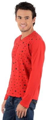 Bigidea Printed Men's V-neck Red T-Shirt