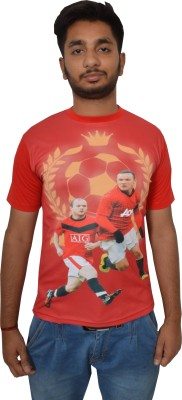 Shaun Printed Men's Round Neck Red T-Shirt