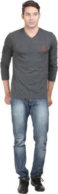 John Caballo Solid Men's V-neck Black T-Shirt