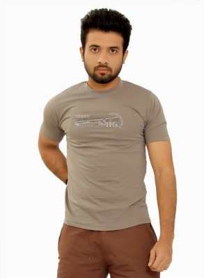 MountainColours Solid Men's Round Neck Grey T-Shirt