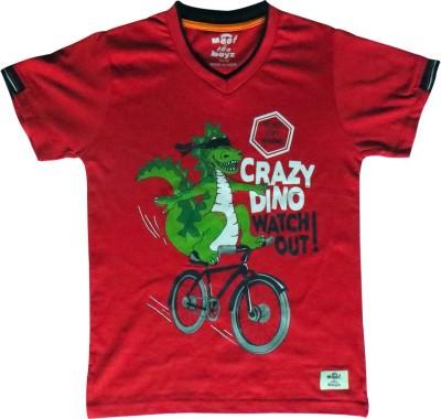 Kothari Printed Boy's V-neck Red T-Shirt