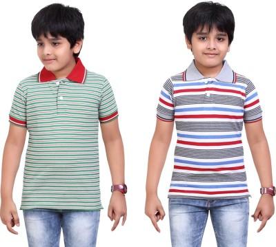 Dongli Striped Baby Boy's Polo Neck Green, Grey T-Shirt