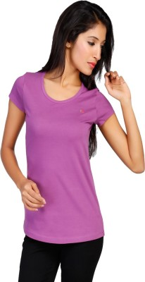 New Darling Solid Women's Round Neck Purple T-Shirt