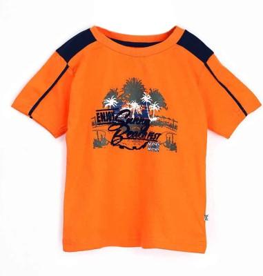Mee Mee Graphic Print Boy's Round Neck Orange T-Shirt