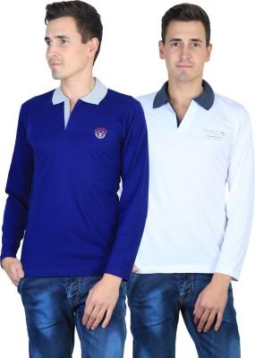Duke Solid Men's Polo Neck Blue, White T-Shirt