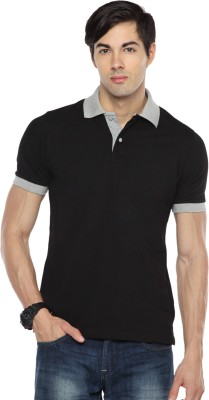 Pepperclub Solid Men's Polo Neck Black T-Shirt