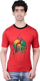 Fashionable Printed Men's Round Neck Reversible Red T-Shirt