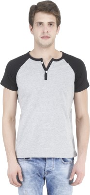 Bonzer Fashion Solid Men's Henley Grey, Black T-Shirt