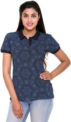 Colors & Blends Printed Women's Polo Neck Blue T-Shirt