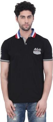 Purple Haze Floral Print Men's Polo Neck Black T-Shirt
