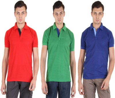 Coaster Solid Men's Polo Neck Multicolor T-Shirt