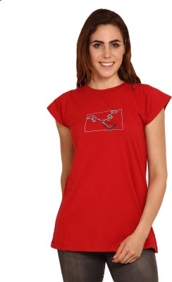 Miss Chick Printed Women's Round Neck Red T-Shirt