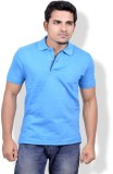 Gumality Solid Men's Polo Neck Blue T-Sh...