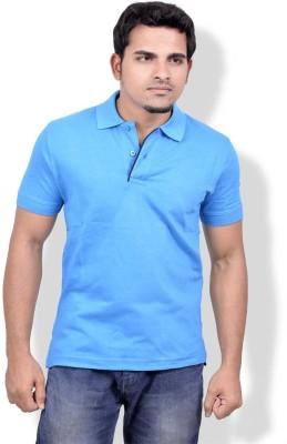 Gumality Solid Men's Polo Neck Blue T-Shirt