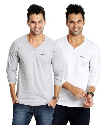 Rodid Solid Men's V-neck Grey, White T-Shirt