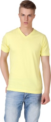 Aventura Outfitters Solid Men's V-neck Yellow T-Shirt