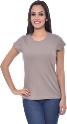 Frenchtrendz Solid Women,s Round Neck Grey T-Shirt