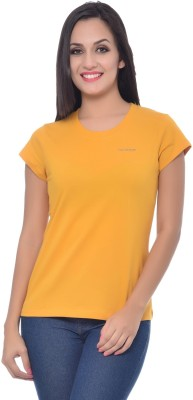 Frenchtrendz Solid Women,s Round Neck Yellow T-Shirt