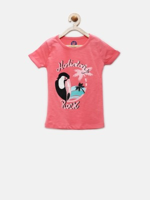 YK Printed Girl's Round Neck Pink T-Shirt