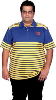 Xmex Striped Men's Polo Neck Yellow T-Shirt
