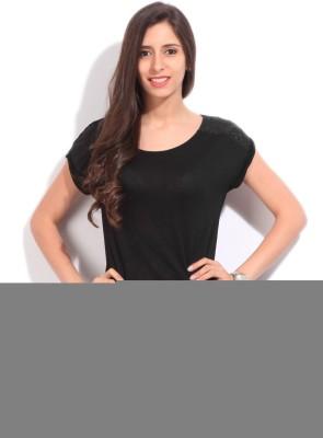 Elle Solid Women's Round Neck Black T-Shirt