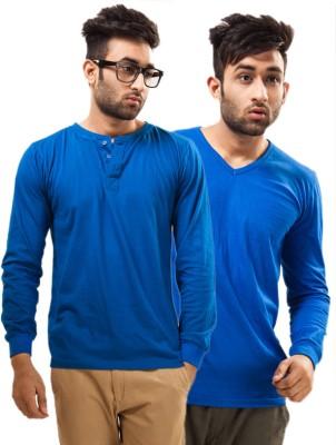 Unisopent Designs Solid Men's Henley, V-neck Blue, Blue T-Shirt