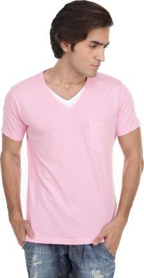 Skatti Solid Men,s V-neck Pink T-Shirt