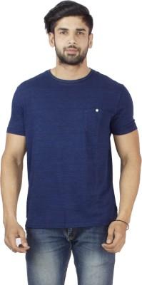 Petroficio Solid Men's Round Neck Dark Blue T-Shirt