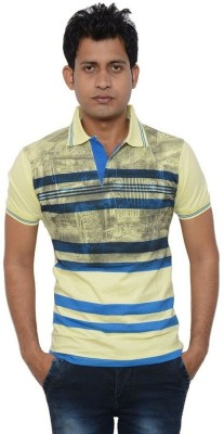Lampara Striped Men's Polo Neck Yellow T-Shirt