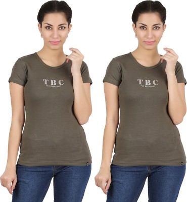 Twin Birds Printed Women's Round Neck Dark Green T-Shirt
