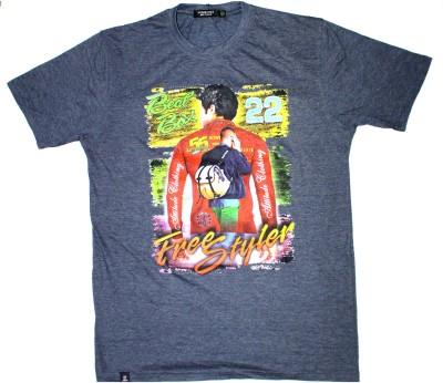 99DailyDeals Printed Men,s Round Neck Grey T-Shirt