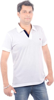 Wells Smith Solid Men,s Polo White T-Shirt