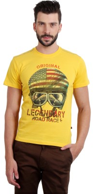 Fitz Solid Men's Round Neck Yellow T-Shirt